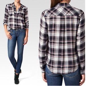 Paige plaid black shirt M